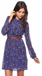 Blue floral sheer sleeve dress at Forever 21