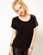 Black tee with studded shoulders at Asos