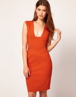 Orange pencil dress at Asos