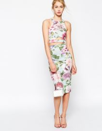 ASOS  ASOS Vintage Rose Two Piece Bodycon Dress at Asos