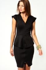 Black peplum dress with zip front at Boohoo