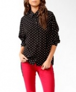 Black polka dot blouse from Forever 21 at Forever 21