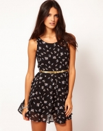 Black printed chiffon dress like Zoe Harts at Asos