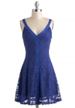 Blue lace dress with vneck trim at Modcloth