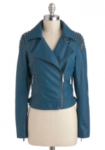 Blue studded moto jacket at Modcloth