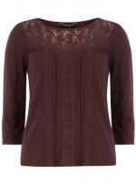Burgundy lace top like Robins at Dorothy Perkins