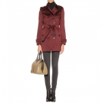Burgundy trench coat by Burberry at My Theresa