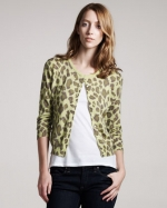 Carrie's green leopard cardigan by Autumn Cashmere at Bergdorf Goodman