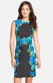 Chetta B Placed Floral Print Sheath Dress at Nordstrom