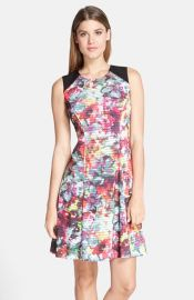ECI Floral Print Fit andamp Flare Dress at Nordstrom
