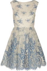 Wornontv Mel S Cream And Blue Lace Dress On Melissa And