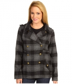 Grey check coat with gold buttons at 6pm