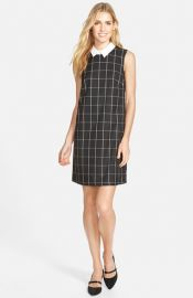 Halogenand174 Check Shift Dress with Removable Collar at Nordstrom