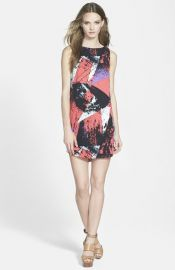 Leith Sleeveless Print Shift Dress at Nordstrom