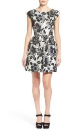 One Clothing Metallic Floral Print Skater Dress at Nordstrom
