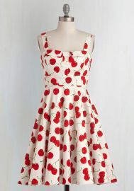 Pull Up a Cherry Dress in White at ModCloth