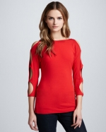 Red cutout sleeve top by Bailey 44 at Neiman Marcus
