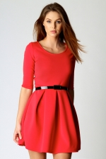 Red pleated dress at Boohoo