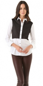 Robin's white shirt with black front at Shopbop