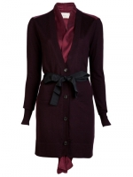 Serena's red cardigan with ribbon at Farfetch