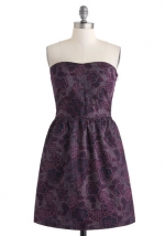 Strapless purple dress at Modcloth