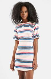 Topshop Stripe Jacquard A-Line Dress at Nordstrom