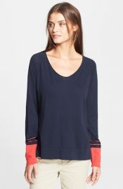 Wornontv Ellie S Navy Sweater With Red Cuffs And Quilted