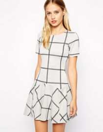 Warehouse  Warehouse Check Jacquard Flippy Dress at Asos