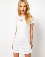 White crochet shift dress from ASOS at Asos