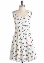 White printed dress from Modcloth at Modcloth