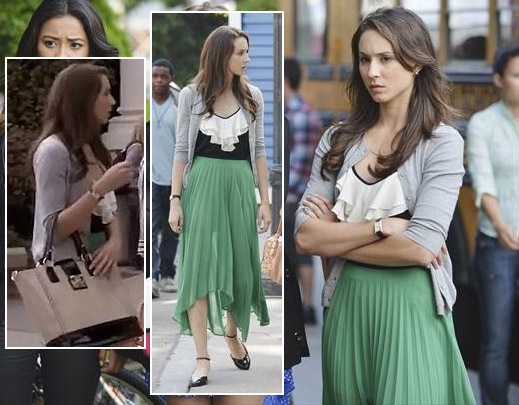 Spencer's green pleated skirt and tote bag on Pretty Little Liars