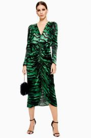 green zebra ruched dress at Topshop