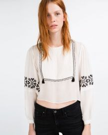 Flowing Shirt with Bib Front Embroidery at Zara