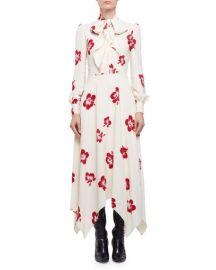 Saint Laurent Embellished Hibiscus-Print Midi Dress at Neiman Marcus