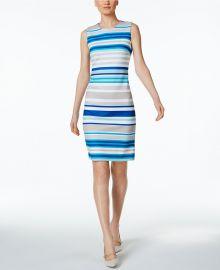 Calvin Klein Striped Scuba Sheath Dress at Macys
