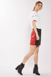 Topshop Leather Colourblock Biker Skirt at Topshop