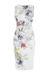 Karen Millen White and Floral Pencil Dress at Karen Millen