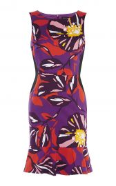 Karen Millen FLORAL COTTON MINI DRESS  MULTICOLOUR at Karen Millen