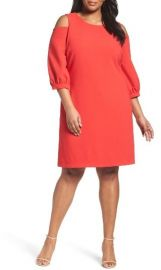 Plus Size Eliza J Cold Shoulder Shift Dress at Nordstrom