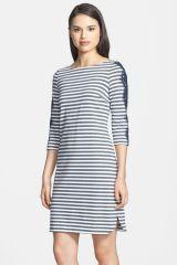 Lace Detail Stripe Ponte Knit Shirttail Dress at Nordstrom