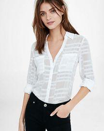 Slim Fit Sheer White Plaid Portofino Shirt at Express