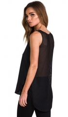 10 CROSBY DEREK LAM Mesh Back V Neck Top in Black  REVOLVE at Revolve