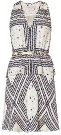 10 Crosby by Derek Lam Grommet Detail V Neck Print Dress at Intermix