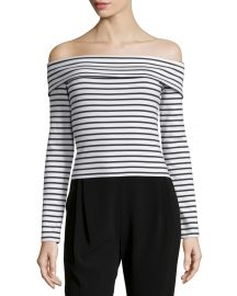 10 Crosby by Derek Lam Long-Sleeve Striped Off-the-Shoulder Top at Neiman Marcus