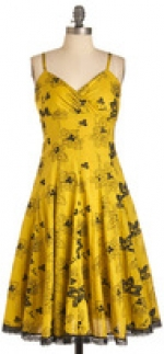 Yellow dress in the style of Lemon Breeland at Modcloth
