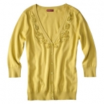 Yellow cardigan with flower detailing at Target