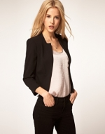 Cropped black blazer like Zoes at Asos