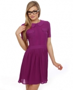 Purple peter pan collared dress at Lulus