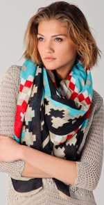 Blue and red patterned scarf like Alexs at Shopbop