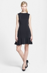 1STATE Ruffled Hem Crepe Fit andamp Flare Dress at Nordstrom